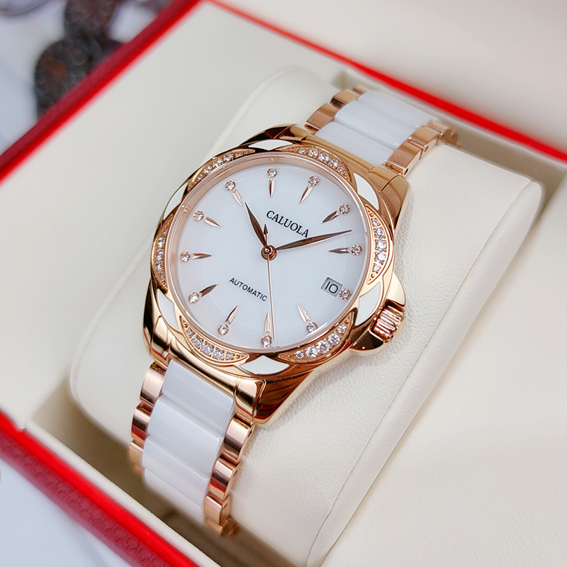The official women's watch brand of Carroll genuine mechanical watch waterproof fashion ceramic women's watch brand women's Watch