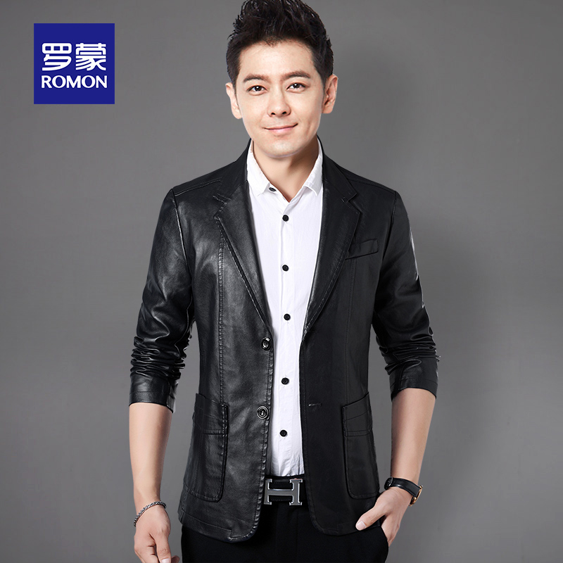 Romon Leather Men's winter warm casual fashion suit collar jacket young and middle-aged slim handsome men's coat trend
