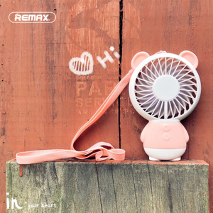 Remax手持小电风扇迷你可充电随身学生办公室桌面手拿卡通可爱便携式手握电动儿童挂脖家用小型静音usb风扇