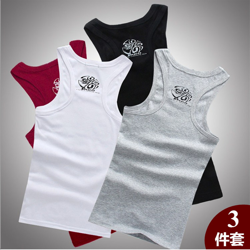 (3 Pack) mens sweat vest summer I-type cotton printed crew neck youth tight sports elastic knitting