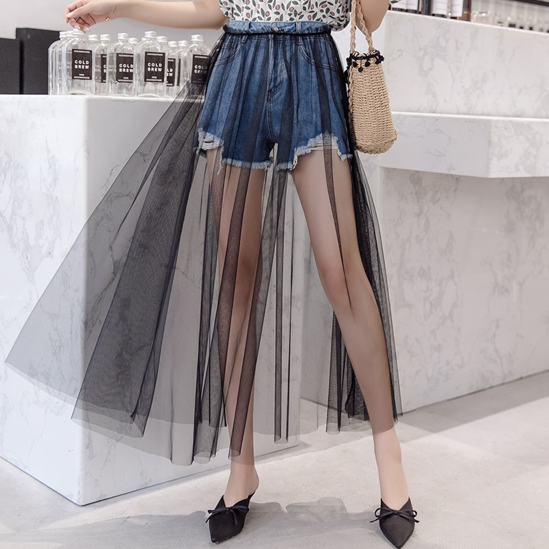 Denim shorts sand skirt fake two pieces of shorts with gauze skirt