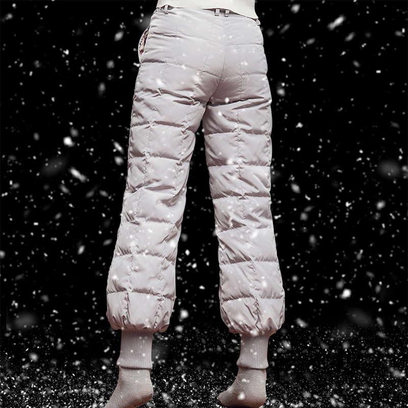Down pants women wear high waisted thickened white duck down warm and loose look thin casual winter large lantern pants fashion