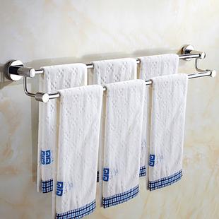 304不锈钢免打孔卫生间双杆打孔式加长置物毛巾架浴室高低浴巾杆