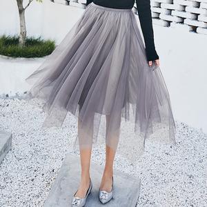 实拍1079# 春夏新款 百搭不规则网纱半身裙中长裙仙女裙