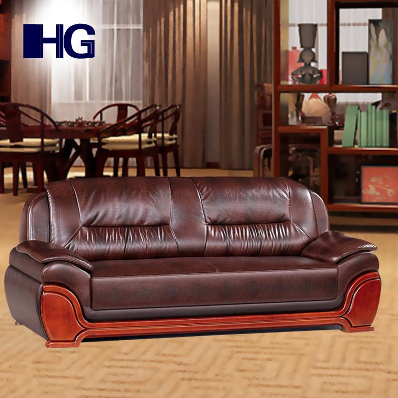 Офис диван натуральная кожа три человека бизнес роскошь китайский стиль богатый диван офис комната с киркой подожди комната может пассажир площадь
