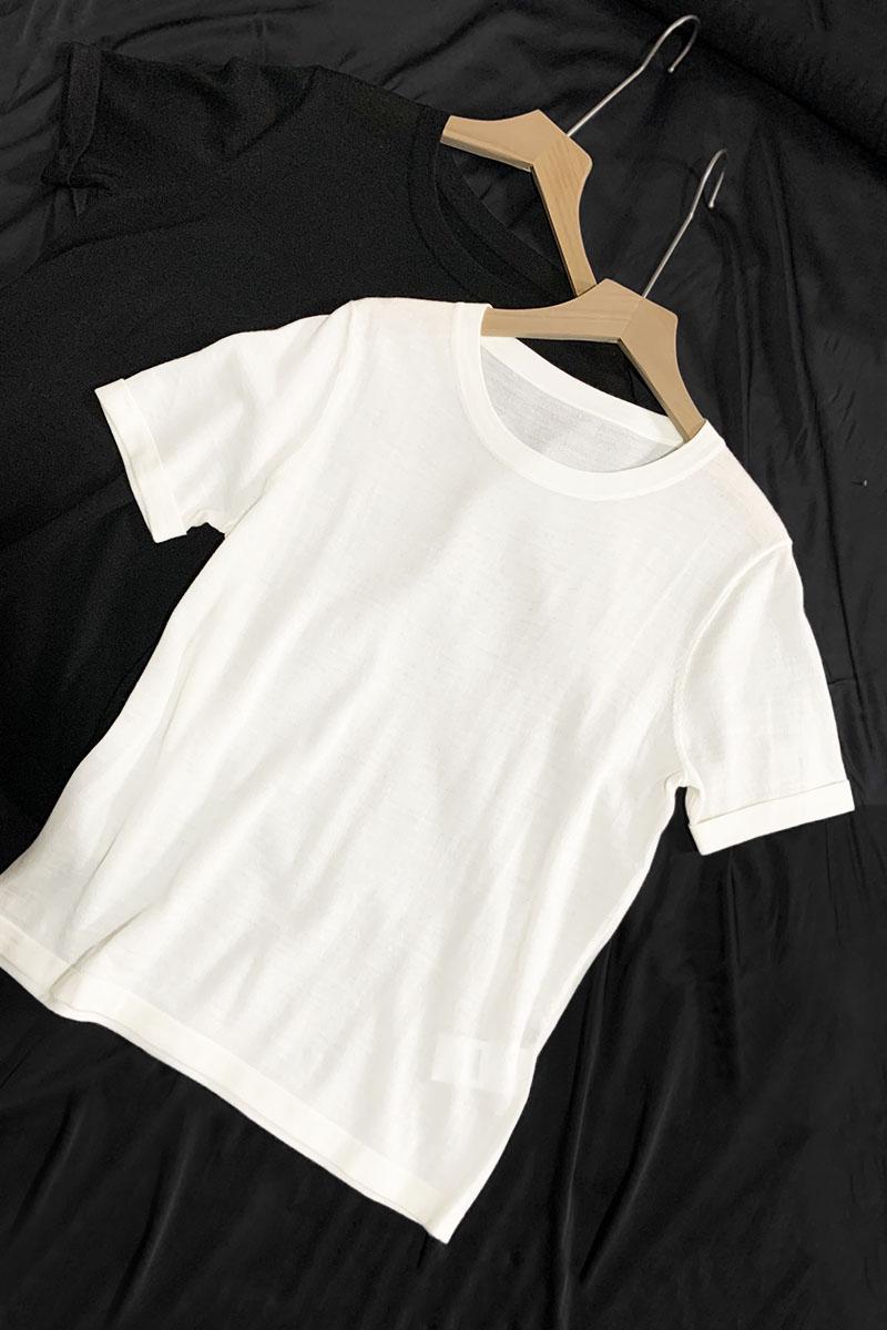 精纺极细纯羊毛T恤衫 简约圆领薄款针织打底 2020夏季