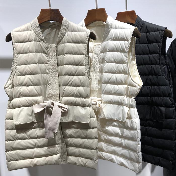 外贸出口女早秋款冬季背心修身收腰超轻薄白鸭绒短款羽绒外穿马甲