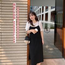 大码女装胖妹妹mm时尚减龄套装夏季2021新款雪纺衬衫吊带裙两件套