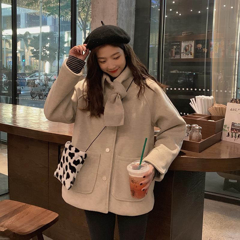 控价+5 实拍实价 秋冬韩版chic复古宽松口袋百搭毛呢外套
