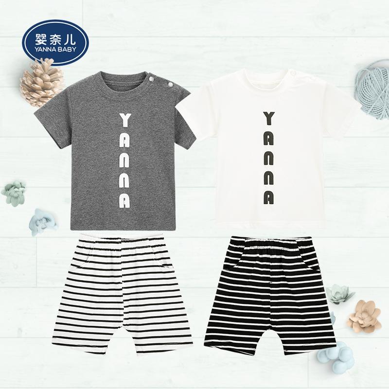 婴奈儿短袖小童休闲新款圆领肩开套装条纹短裤简约时尚夏季新品