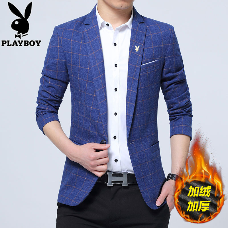 Playboy casual suit mens autumn and winter 2020 plush and thickened slim fit Korean Trend Plaid suit coat