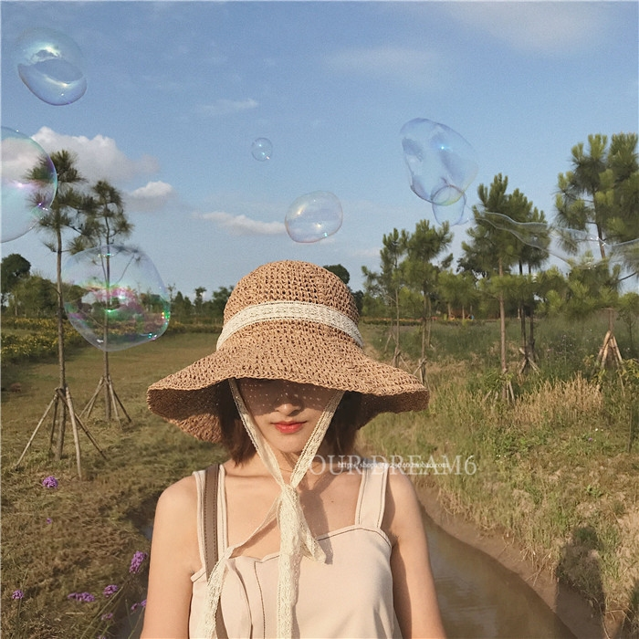 Chic lace bandage basin hat straw hat Children Summer foldable fisherman hat Beach Hat beach sun shading straw hat