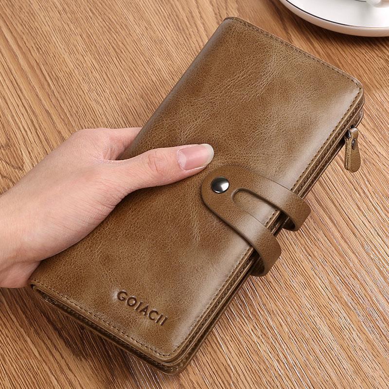 -2021 new mens wallet mens long zipper leather wallet young cow leather wallet card bag mens handbag