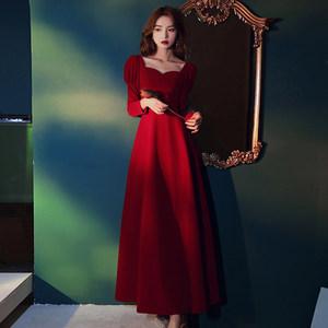 红色回门连衣裙伴娘服2021年新款春秋季礼服裙子平时可穿气质聚会