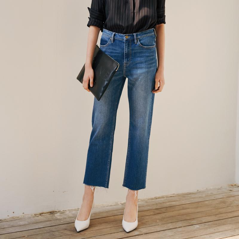 意大利面料显瘦百搭九分裤浅蓝色直筒牛仔裤女宽松春特看了又看