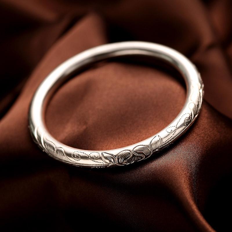 Elder Hundred Anemone 999 Vòng tay bạc sterling Vòng tay chạm khắc hoa sen kín - Vòng đeo tay Cuff