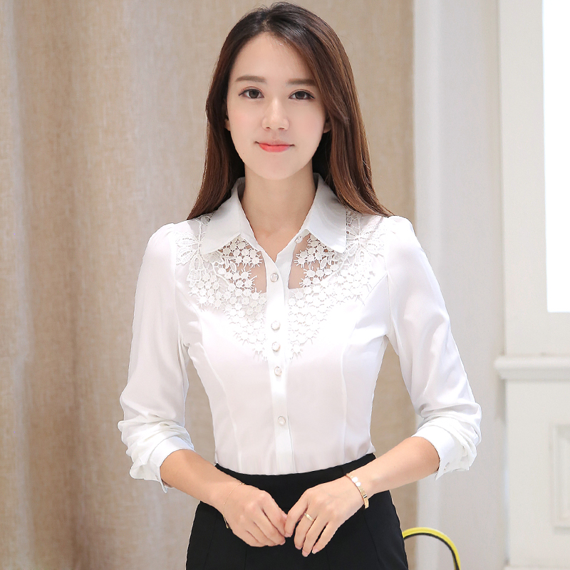 New large chiffon shirt in early autumn 2020 female Han Fan Long Sleeve lace professional slim white shirt
