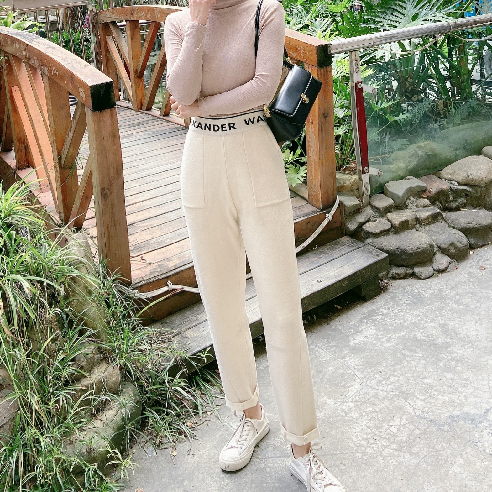 Europe station double side cashmere harem womens pants winter off white casual quarter pants waist letter thickened radish pants