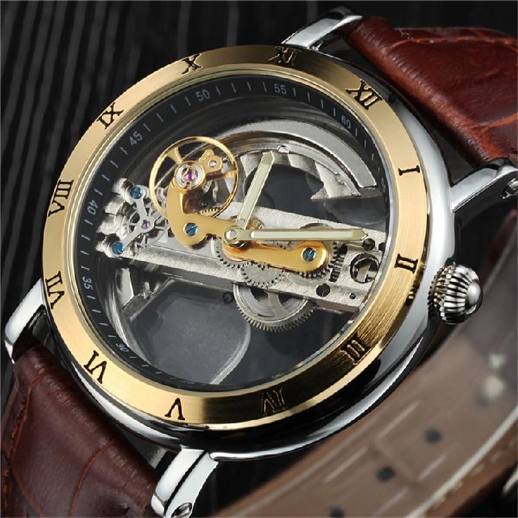 正品男陀飞轮个性双面镂空潮男士全自动机械表真皮带防水复古手表