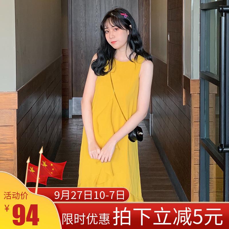 11-16新券无袖黄色连衣裙荷叶边不规则宽松纯色小香风中长裙超仙雪纺气质薄
