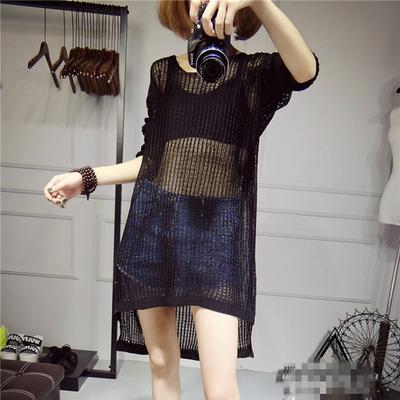 韩版夏季镂空罩衫针织衫女套头薄款宽松网衫大码中长款蝙蝠袖上衣