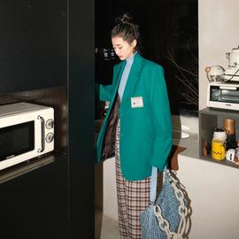 炸街厚西裝外套女設計感小眾綠色高級春秋韓版英倫風紫色西服上衣圖片