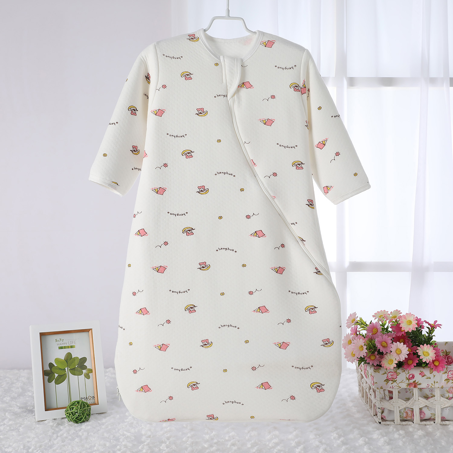 Baby sleeping bag spring and autumn pure cotton thin spring and summer baby double layer warm keeping