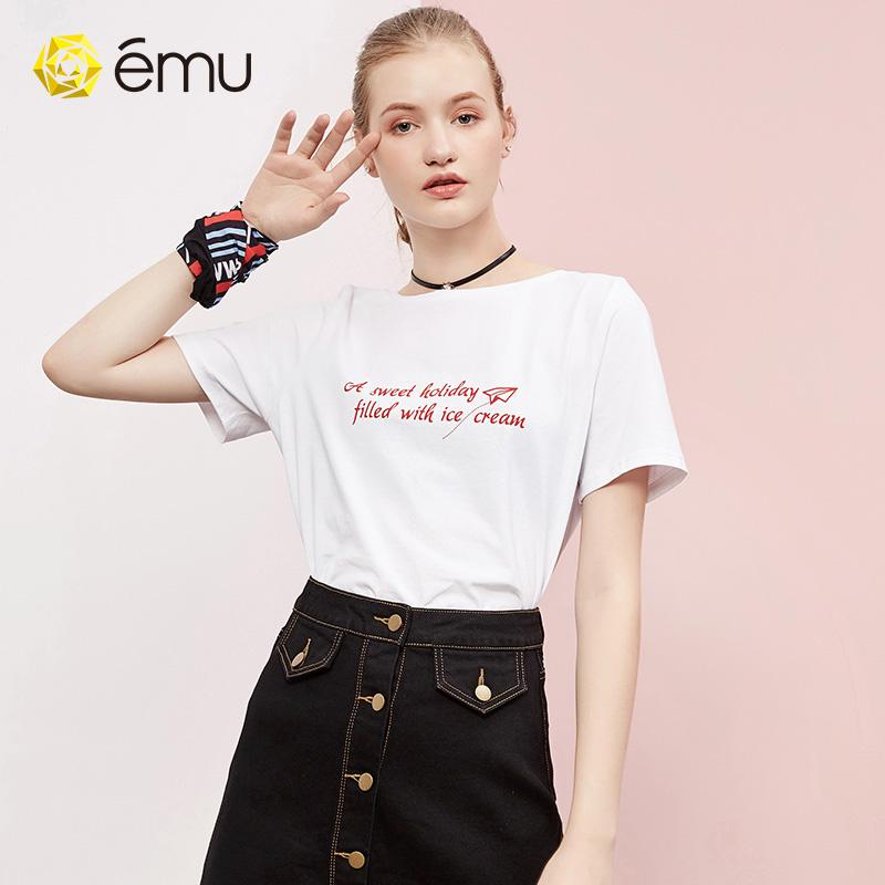 emu/依妙前后两面双面可穿短袖女t恤
