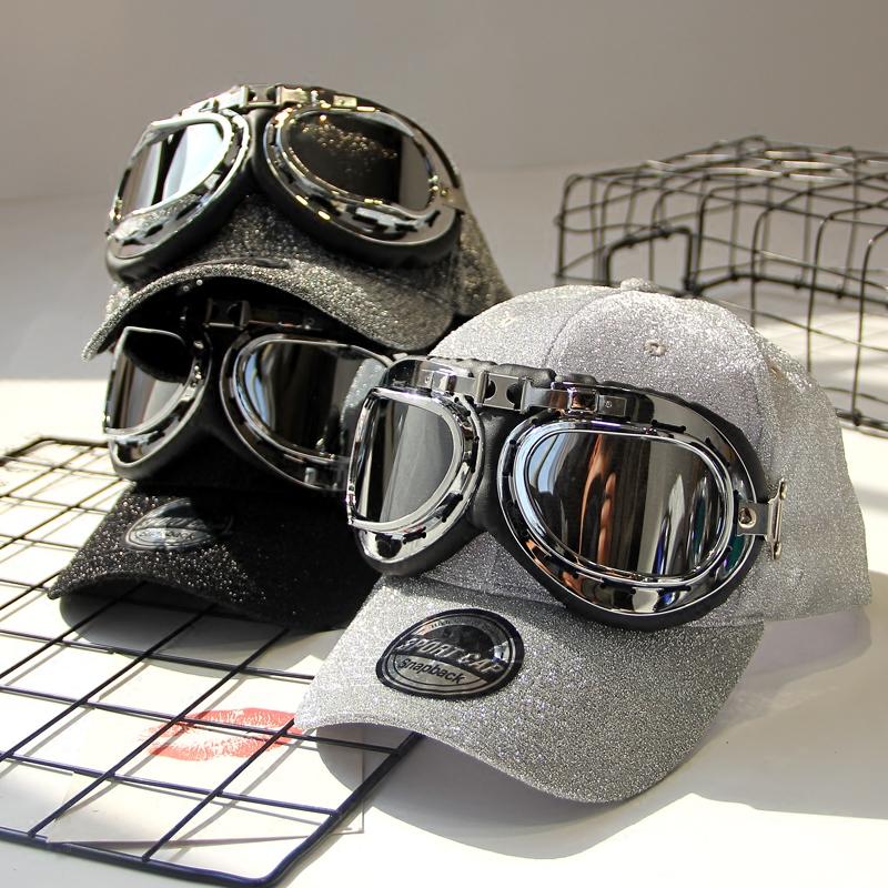 タオバオ仕入れ代行-ibuy99 机车帽 原创个性飞行员眼镜帽男女帅气机车帽子街舞棒球帽春款透气嘻哈帽