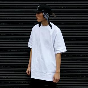 bboy 宽松纯色 重磅小领口t恤 街舞 嘻哈净色短袖打底hiphop滑板