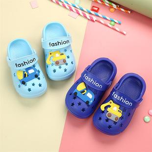 儿童夏季男童挖土机卡通凉拖鞋女童室内家用防滑婴儿鞋凉鞋包头