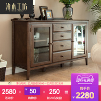 Woodworking square Pure Solid wood dining cabinets American Black walnut red oak dining cupboard glass locker