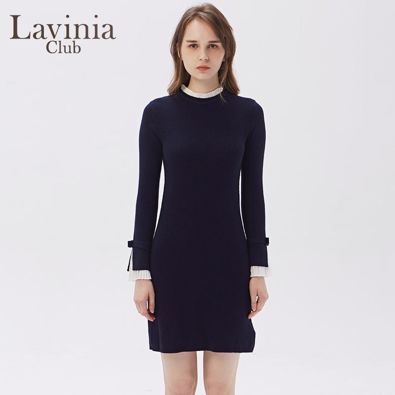 Lavinia Club/拉维妮娅2019新款羊毛中长款修身长袖针织O197ZZ41