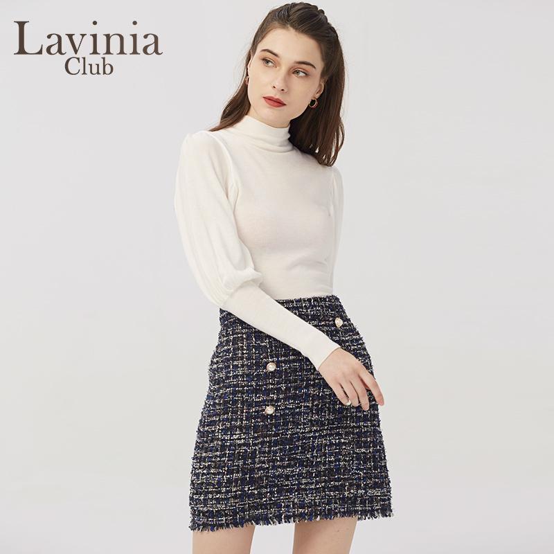 Lavinia Club/拉维妮娅2020秋季新品修身复古灯笼袖针织衫O05Z41