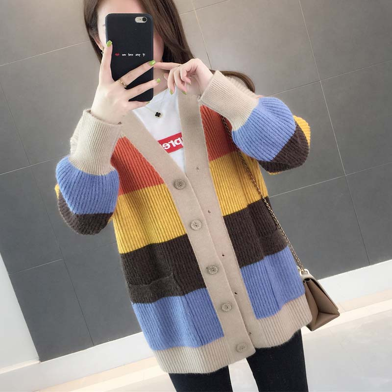 Sangzi 2021 spring and Autumn New Korean version of medium and long knitted sweater cardigan jacket womens loose clothes fashion