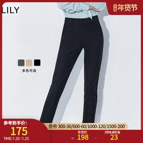 lily2020冬季新款女装通勤黑色长裤