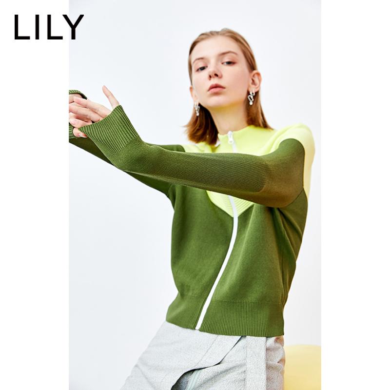 LILY20203701春新款女装运动拼色半高领拉链针织休闲宽松短外套