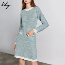 Lily 2019 Autumn and Winter New Women's Dress Temperament Small Fragrance and Bright Silk Made Lady's Pocket Straight Dress 7932
