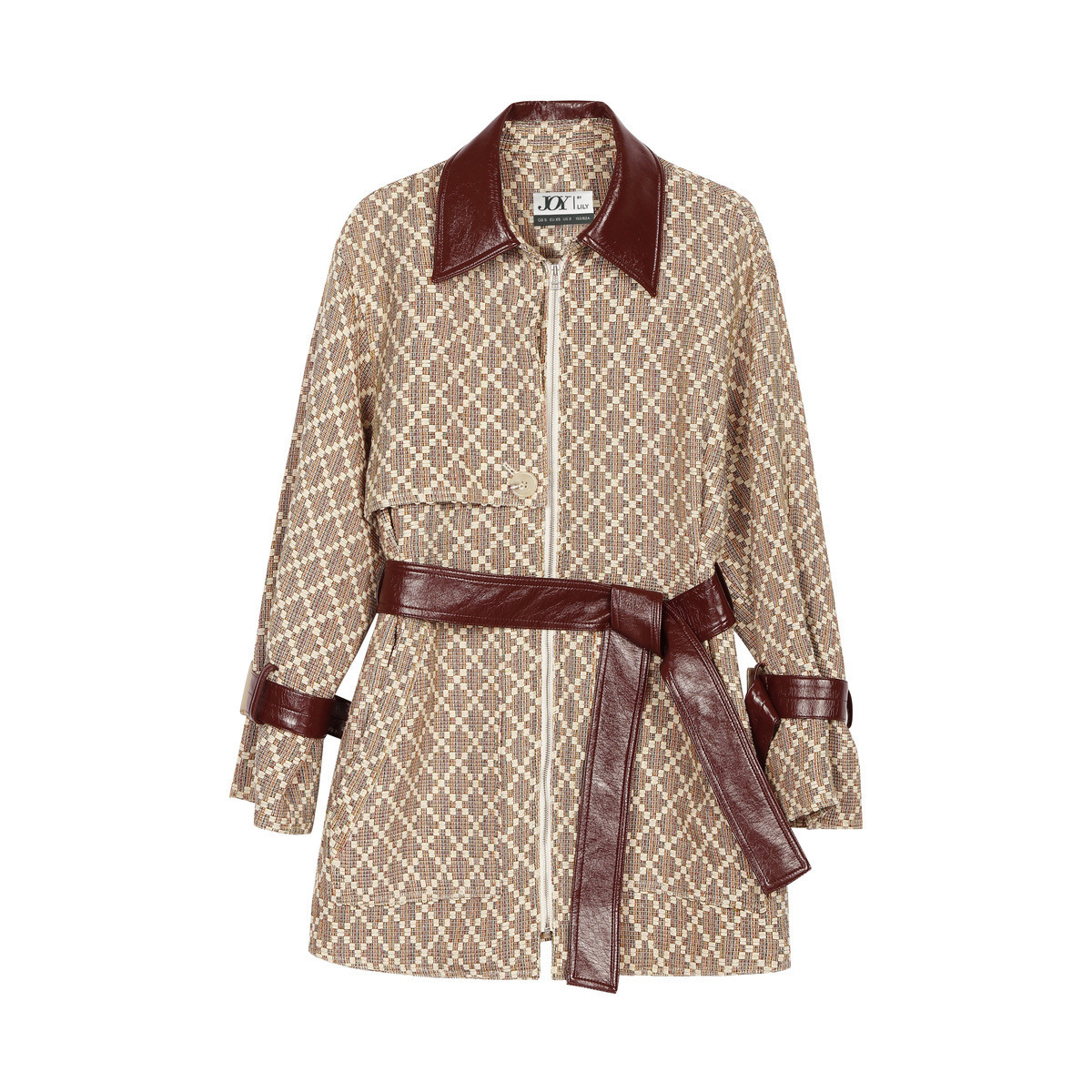 LILY春秋新款女装撞色PU拼接设计菱形格纹拉链风衣式短外套