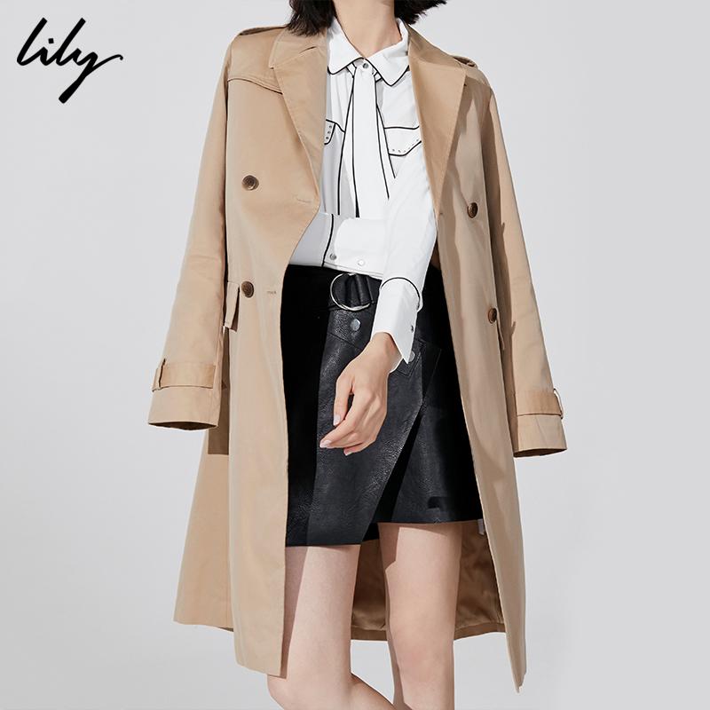 预售Lily2018秋新款经典英伦风全棉系带中长款风衣118339C1917