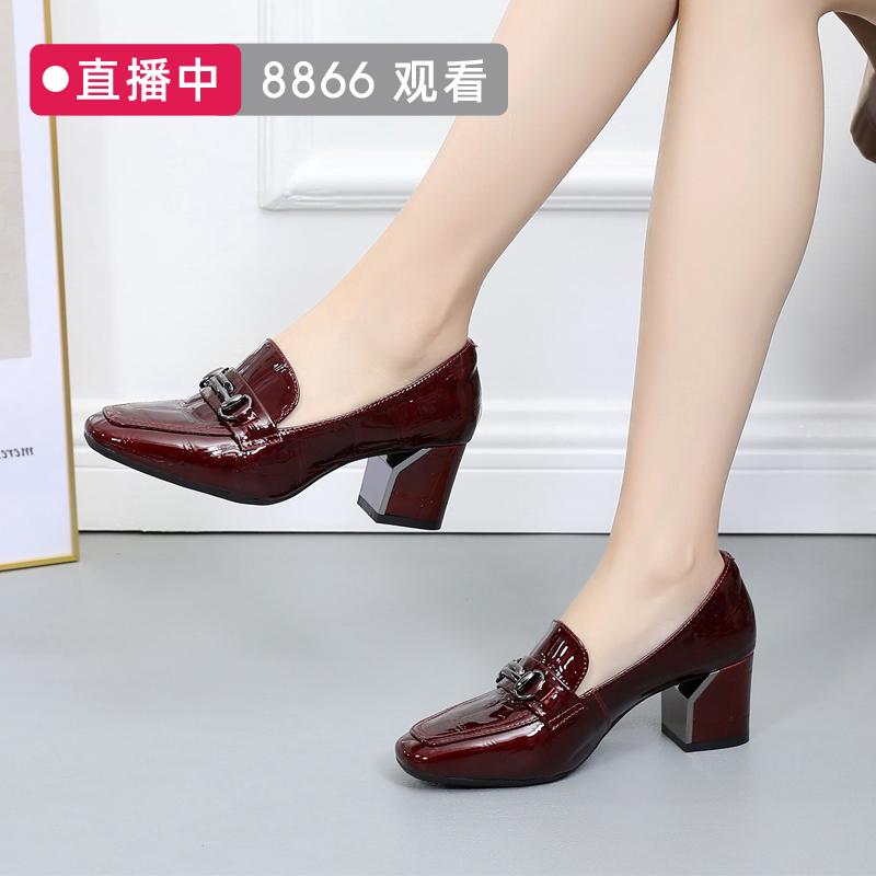 高跟鞋女2020年新款单鞋粗跟漆皮方头真皮皮鞋春款乐福鞋大码女鞋图片
