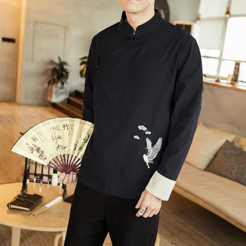 夏季改良男短袖中国风刺绣日常汉服(用65元券)
