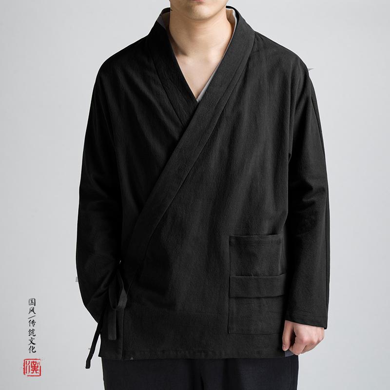 满180.00元可用90元优惠券中国风男装亚麻汉服外套中式大斜襟
