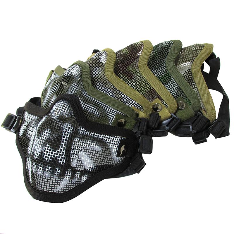v1双带半脸骷髅面具CS野战护脸CF战术护嘴钢丝网水弹枪防护面罩