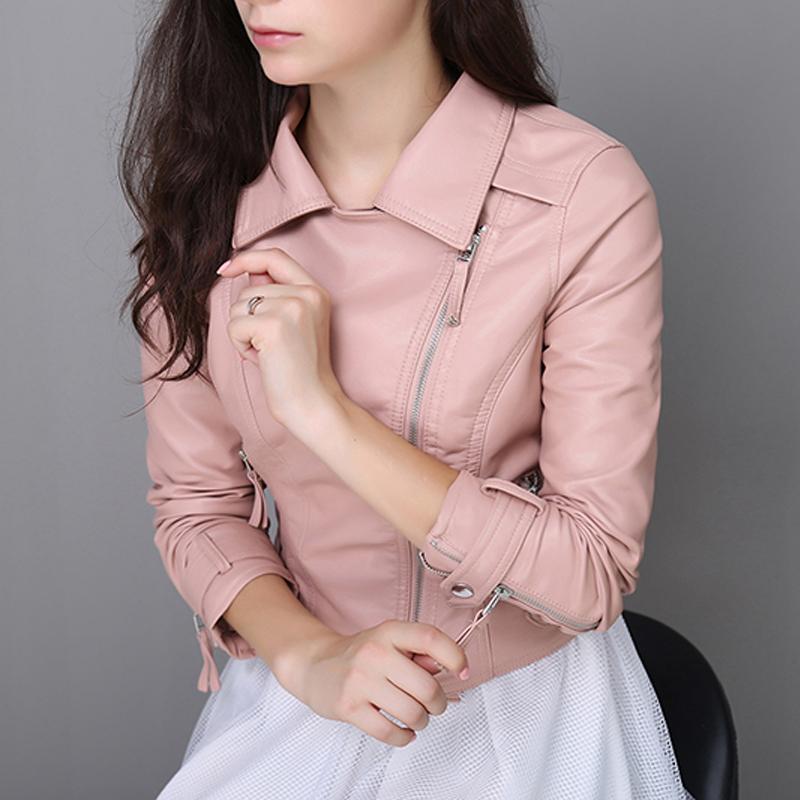 201秋装新款Pu皮衣女短款修身小外套女装机车皮夹克春秋海宁实拍