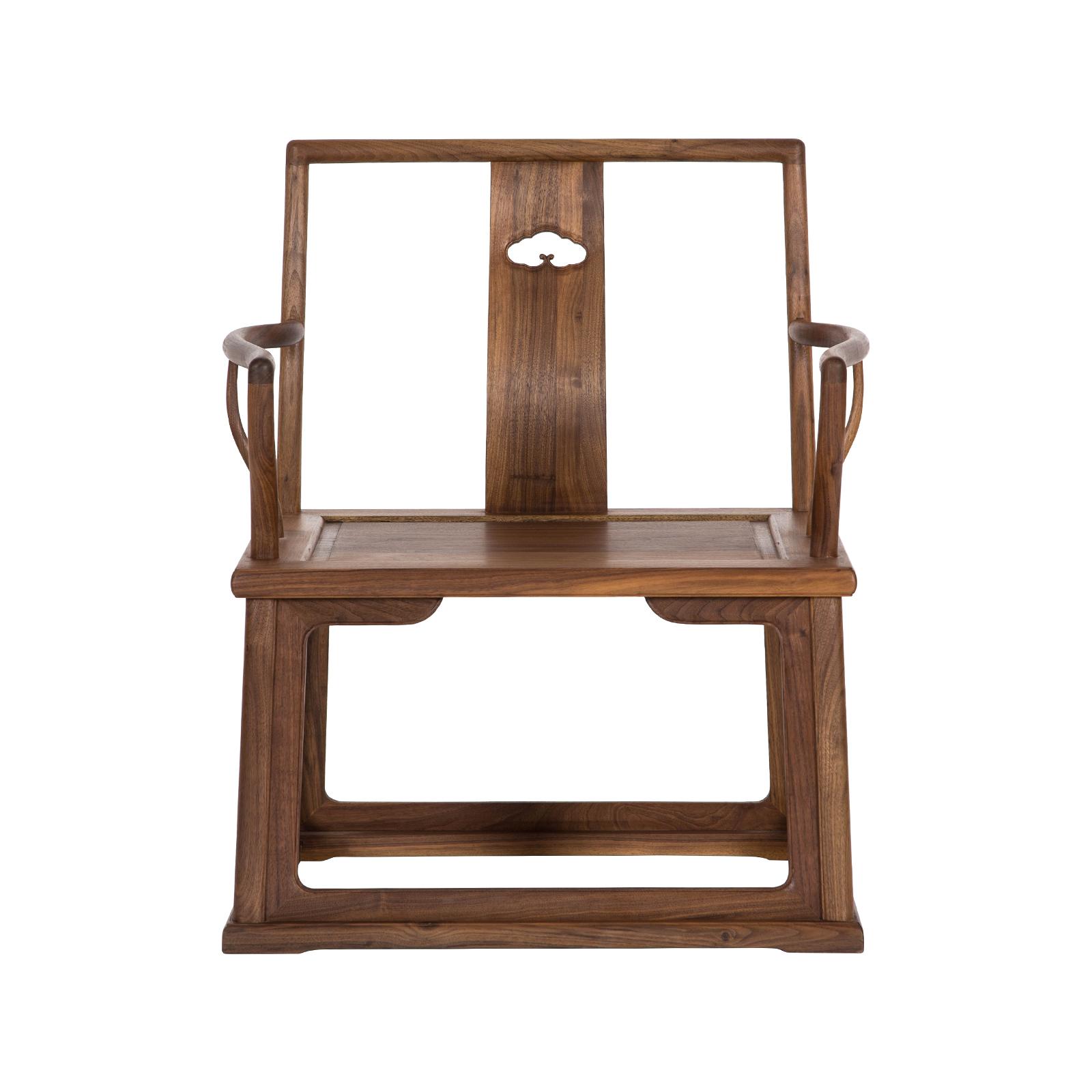 璞木禅意新中式黑胡老榆木桃官帽椅子矮椅仿古设计师会所实木家具