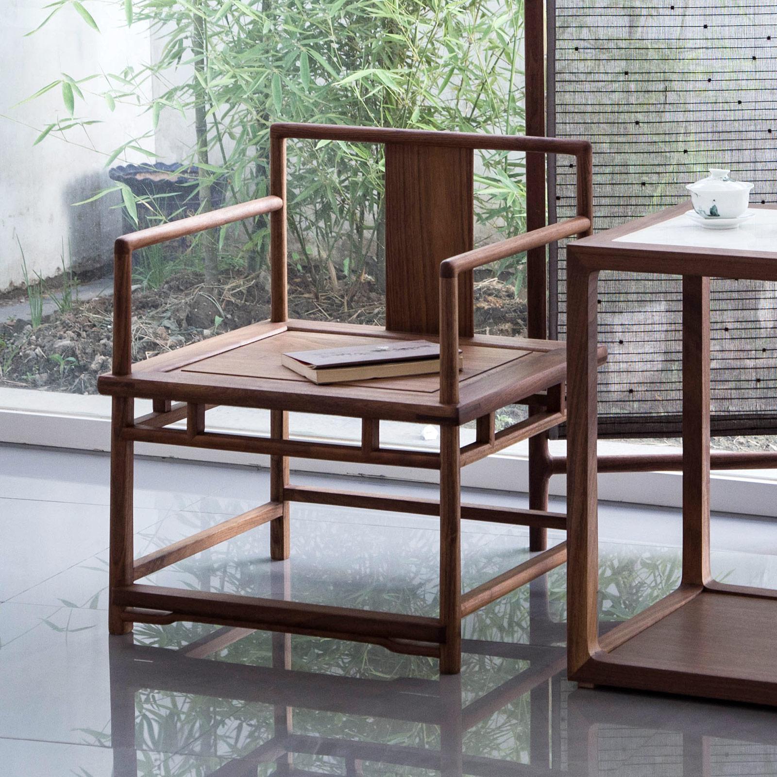 璞木禅意新中式实木黑胡桃官帽椅明清式仿古茶椅子老榆木免漆餐椅
