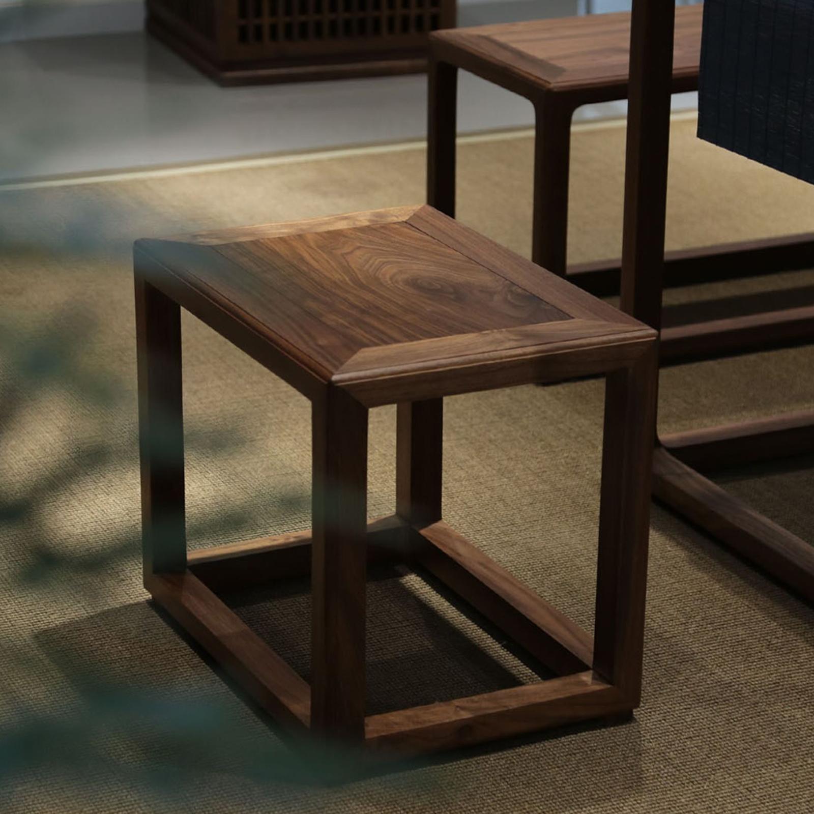 璞木新中式北美黑胡桃茶室小换鞋凳