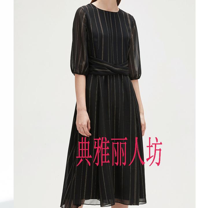 恩裳  2018夏季新款女装时尚条纹五分袖系带雪纺连衣裙9C58205080