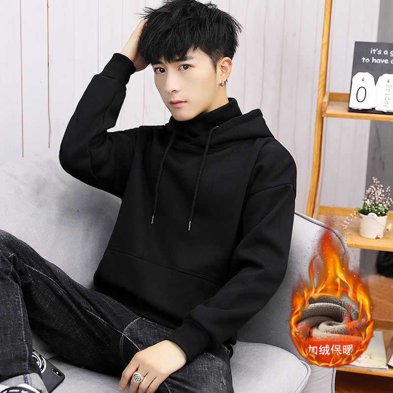 Youth solid color Hooded Sweater Plush high neck T-shirt fashion student mens thickened hooded autumn bottom shirt